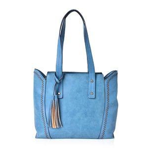 Blue Brown Zigzag Stitched Shoulder Bag w/Tassel
